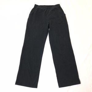 L.L Bean Women's Solid Black Elastic Waist Straigh